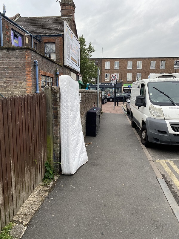 Fly-tipping mattress on Waldeck Road