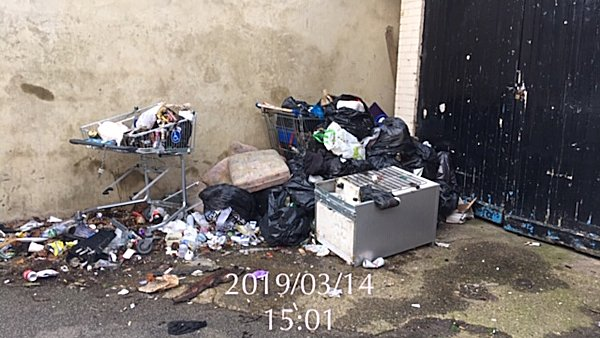 Fly-tipping in Dunstable Road