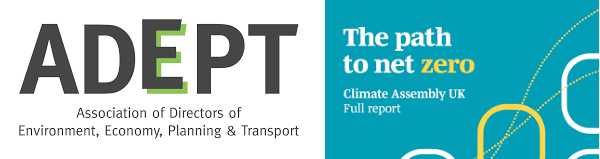 Climctae change logos - ADEPT (Association of Directors of Environment, Economy, Plannign & Transport) and The pathe to Zero from Climate Assembly UK