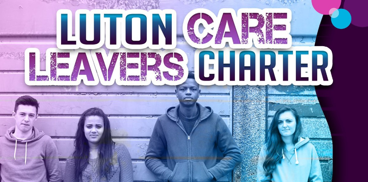 Image showing 4 teenage care leavers standing against a wall, and the words 'Luton care leavers' charter'.