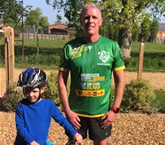 Chief Eexecutive Robin Porter and his son jack completing their mile for the L&D
