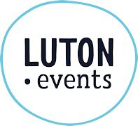 Black and white Luton events sign
