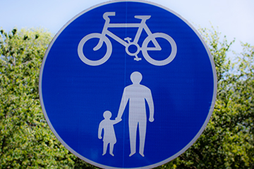 Road sign with bike and pedistrian symbol