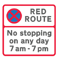 Red Route sign - no stopping between denoted times