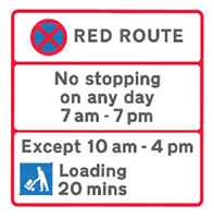 Red Route sign - loading bay