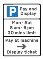 Red Route sign - parking bay