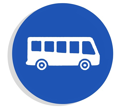Blue circle with a white school bus