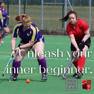 Image showing 2 girls playing hockey, with the words: 'Unleash your inner beginner - this girl can.'